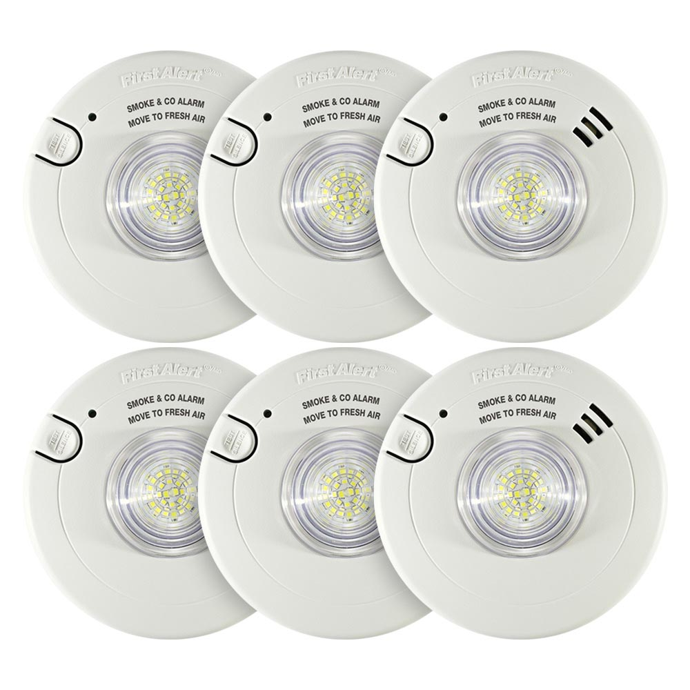 6 Pack Bundle of First Alert Hardwired Smoke & CO Alarm with LED Strobe Light and 10-Year Sealed Battery - 7030BSL (1038870)