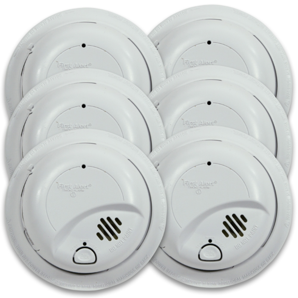 First Alert 9120B6CP Hardwired Smoke Alarm with Battery Backup (6 ...