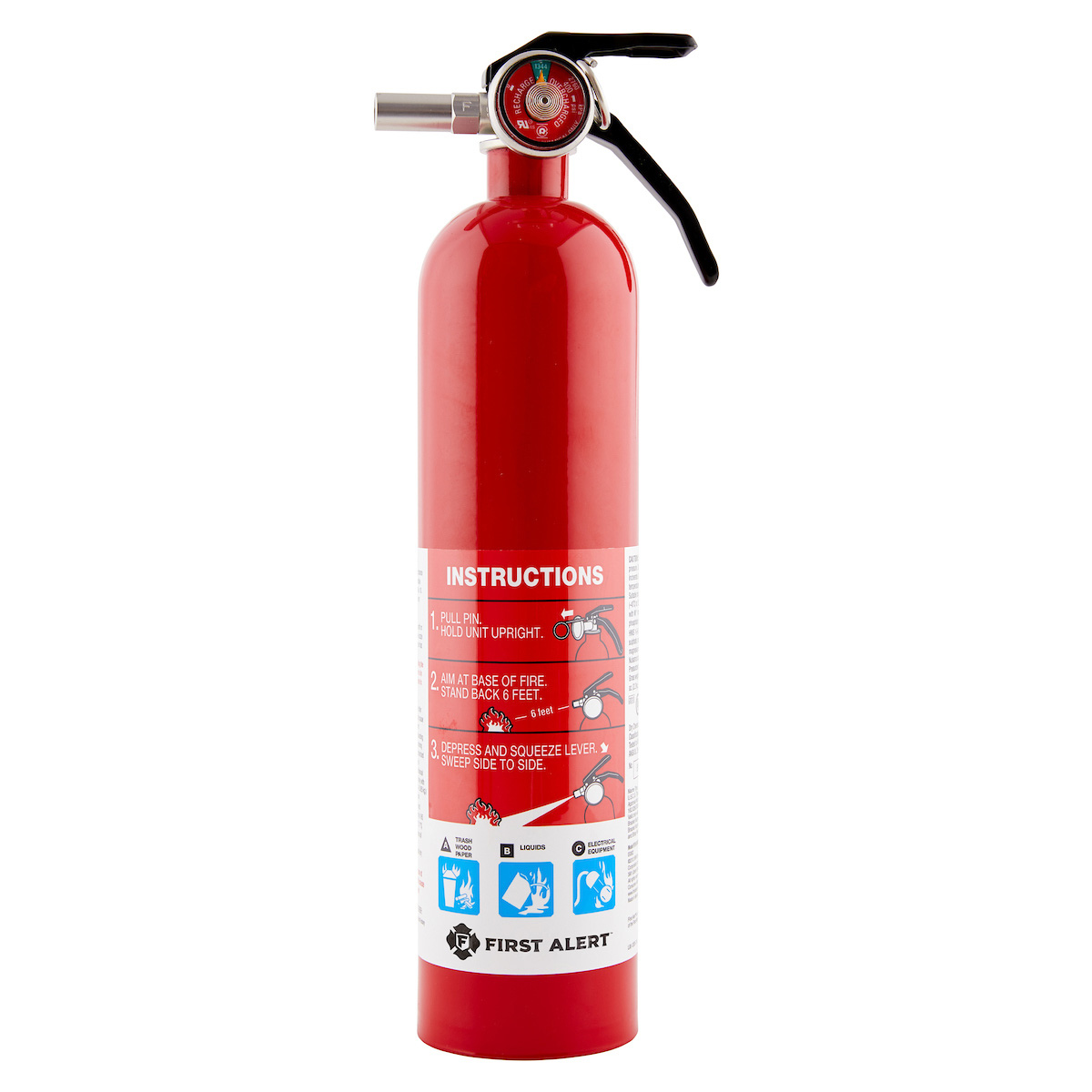 First Alert Rechargeable Garage Fire Extinguisher UL Rated 10-B:C (Red)