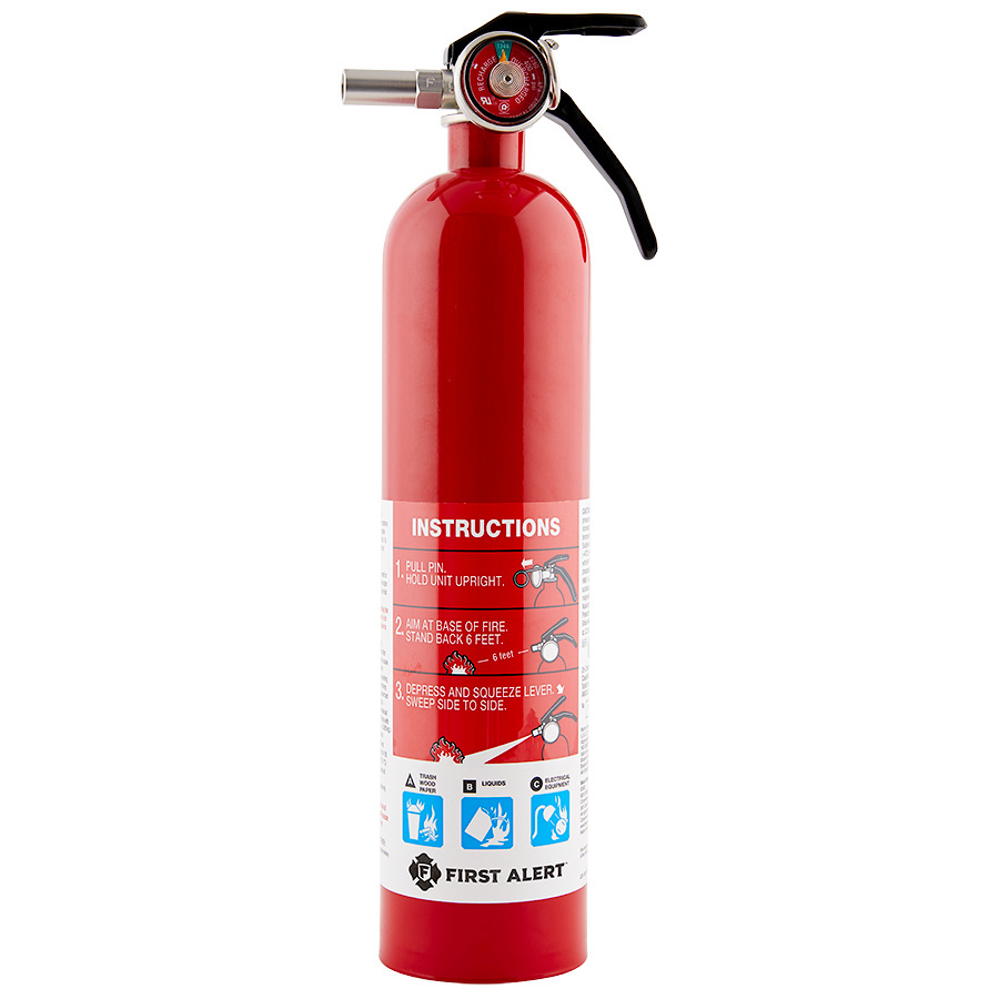 First Alert Rechargeable Home Fire Extinguisher UL Rated 1-A, 10-B:C (Red)