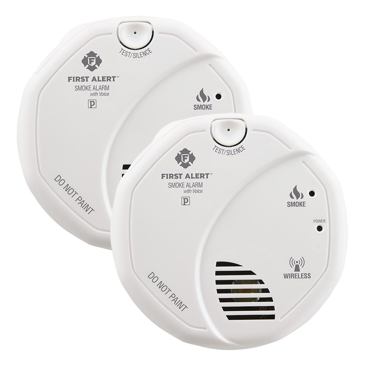 First Alert Wireless Interconnect Battery Operated Smoke Alarm With Voice Location Twin Pack