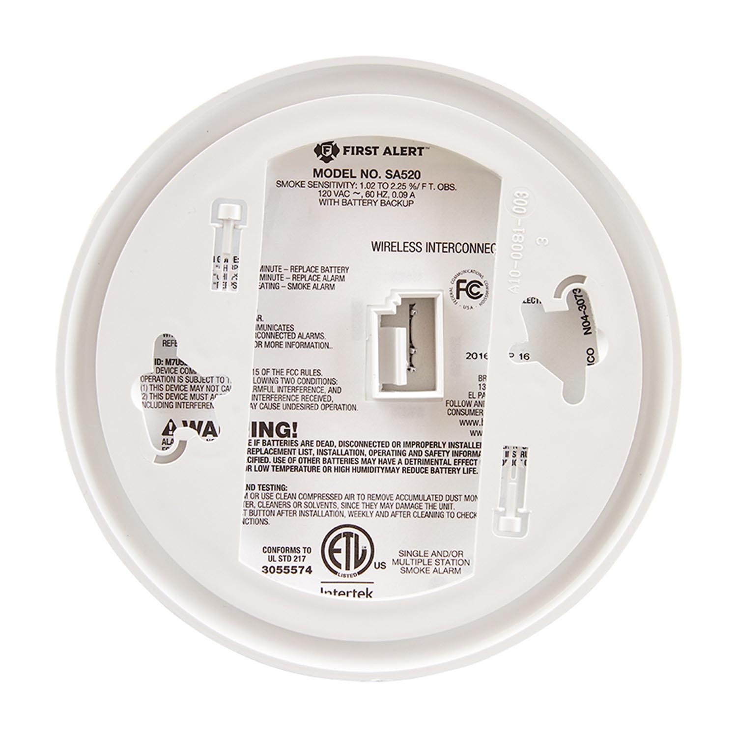 First Alert Sa521cn 3st Wireless Interconnect Hardwired Smoke Alarm Fire System Wiring Diagram 3 1039830
