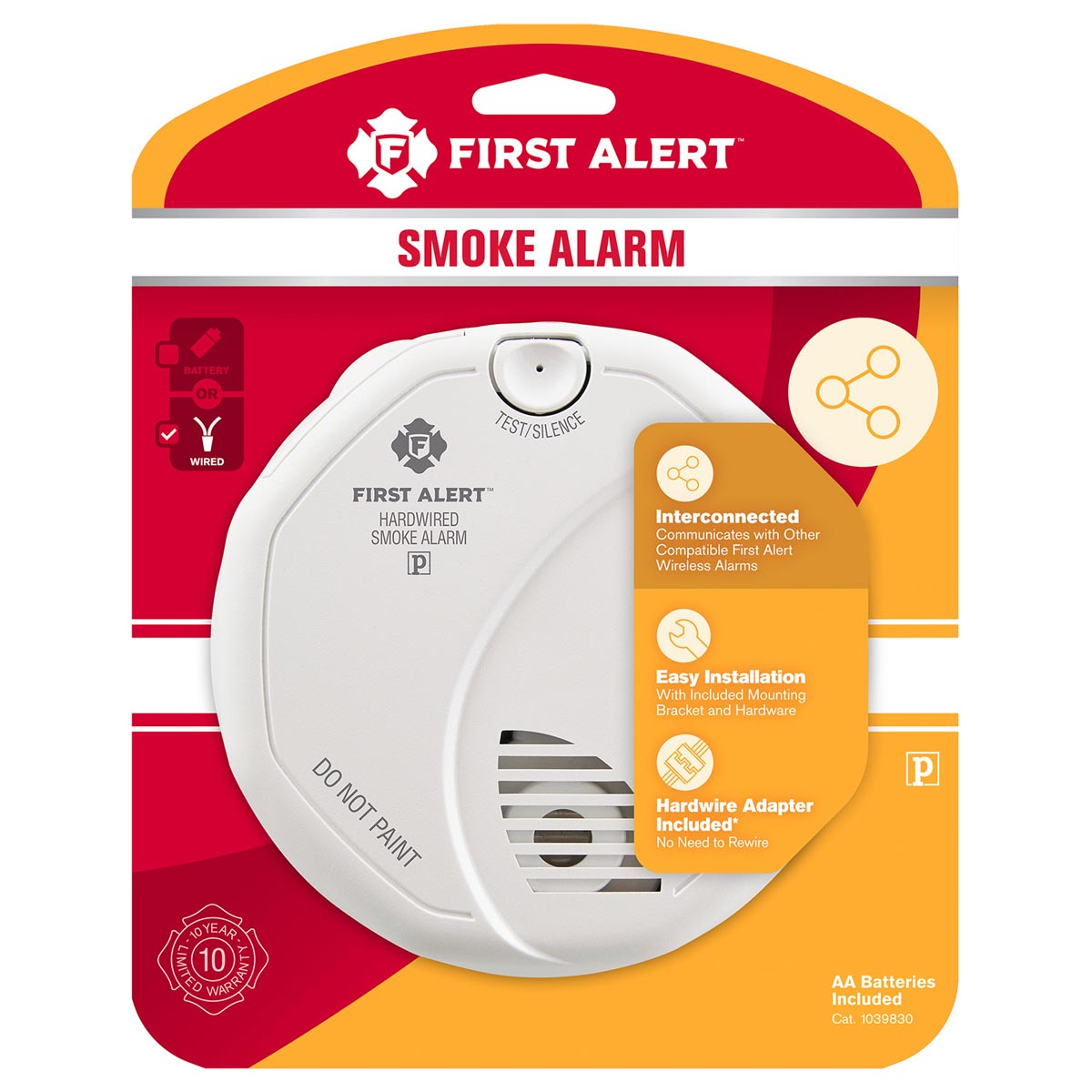 First Alert Sa521cn 3st Wireless Interconnect Hardwired Smoke Alarm Wiring Detectors Off Lighting Circuit 1039830