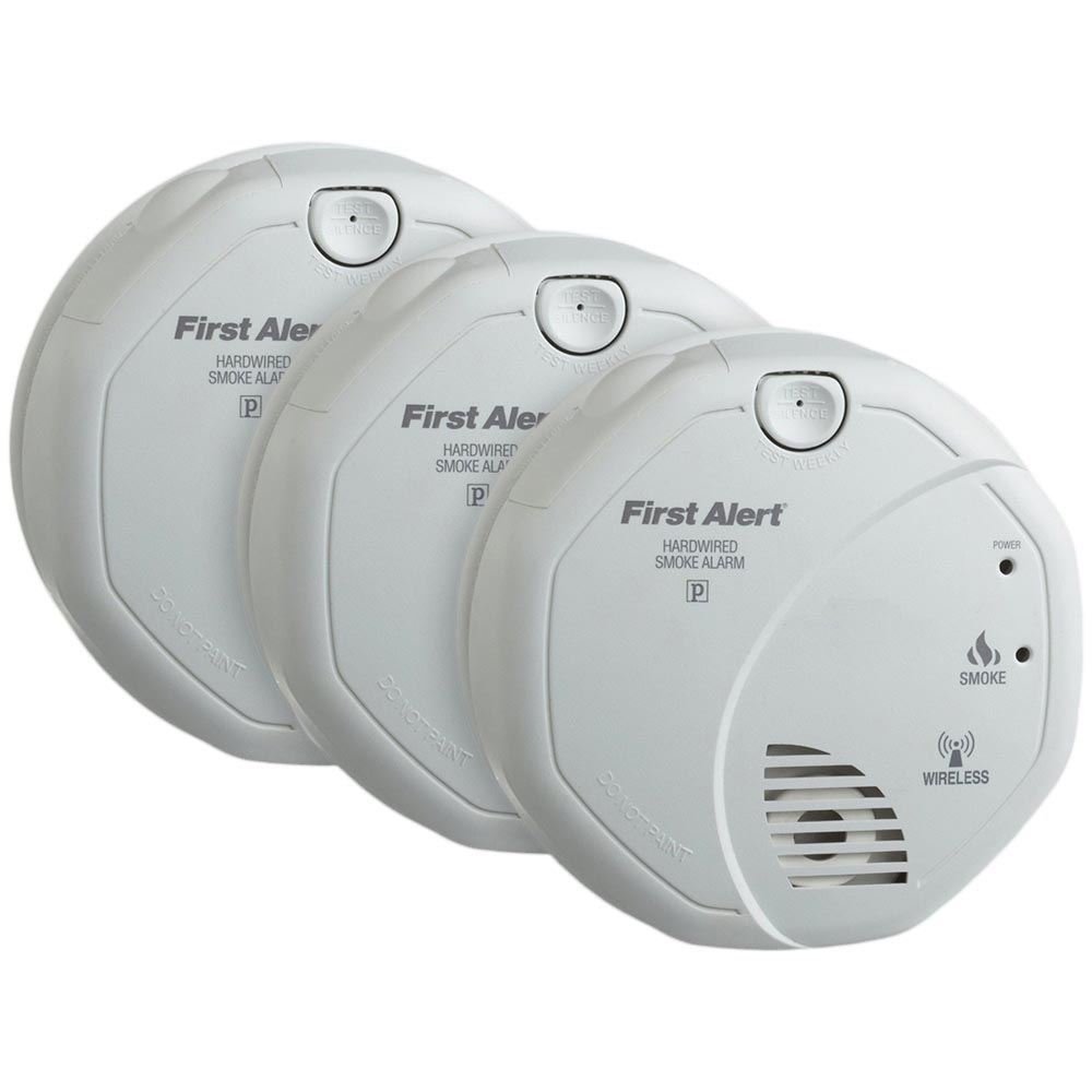 3 Pack Bundle Of First Alert Wireless Interconnect Hardwired Smoke