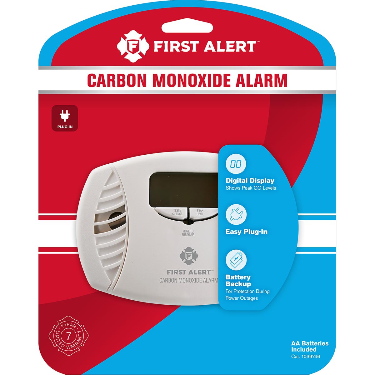 First Alert Plug-In Carbon Monoxide Alarm with Battery Backup & Backlit Digital Display - CO615 (1039746)