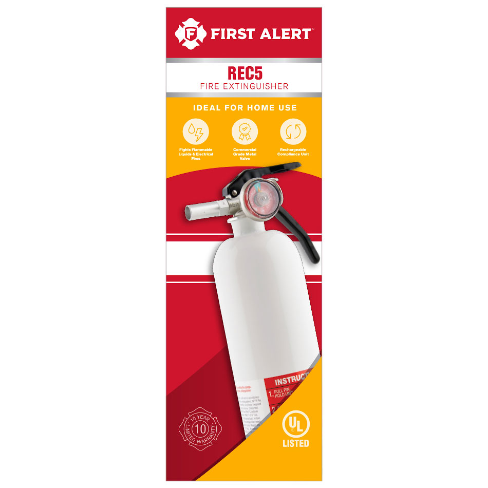 First Alert Rechargeable Recreation Fire Extinguisher UL Rated 5-B:C (White) - REC5