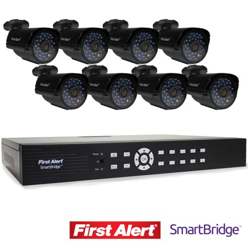 First Alert SmartBridge DVR Video Security System, 16-Channel and 8 Night Vision 560-TVL Cameras (DCA16810-560BB)