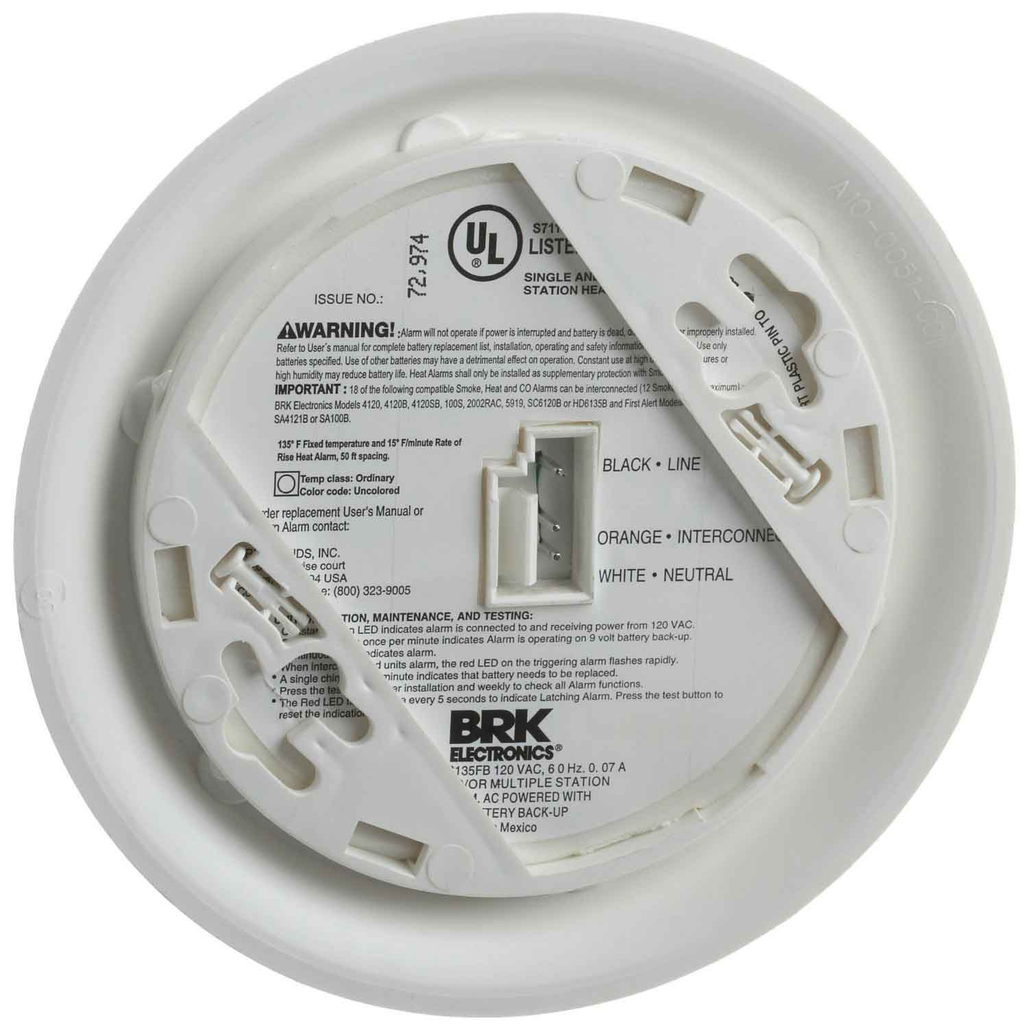 First Alert Hd6135fb Brk Brands Hardwired Heat Alarm With Battery 2wire Smoke Detector Wiring 120 Volt Ac Dc Backup