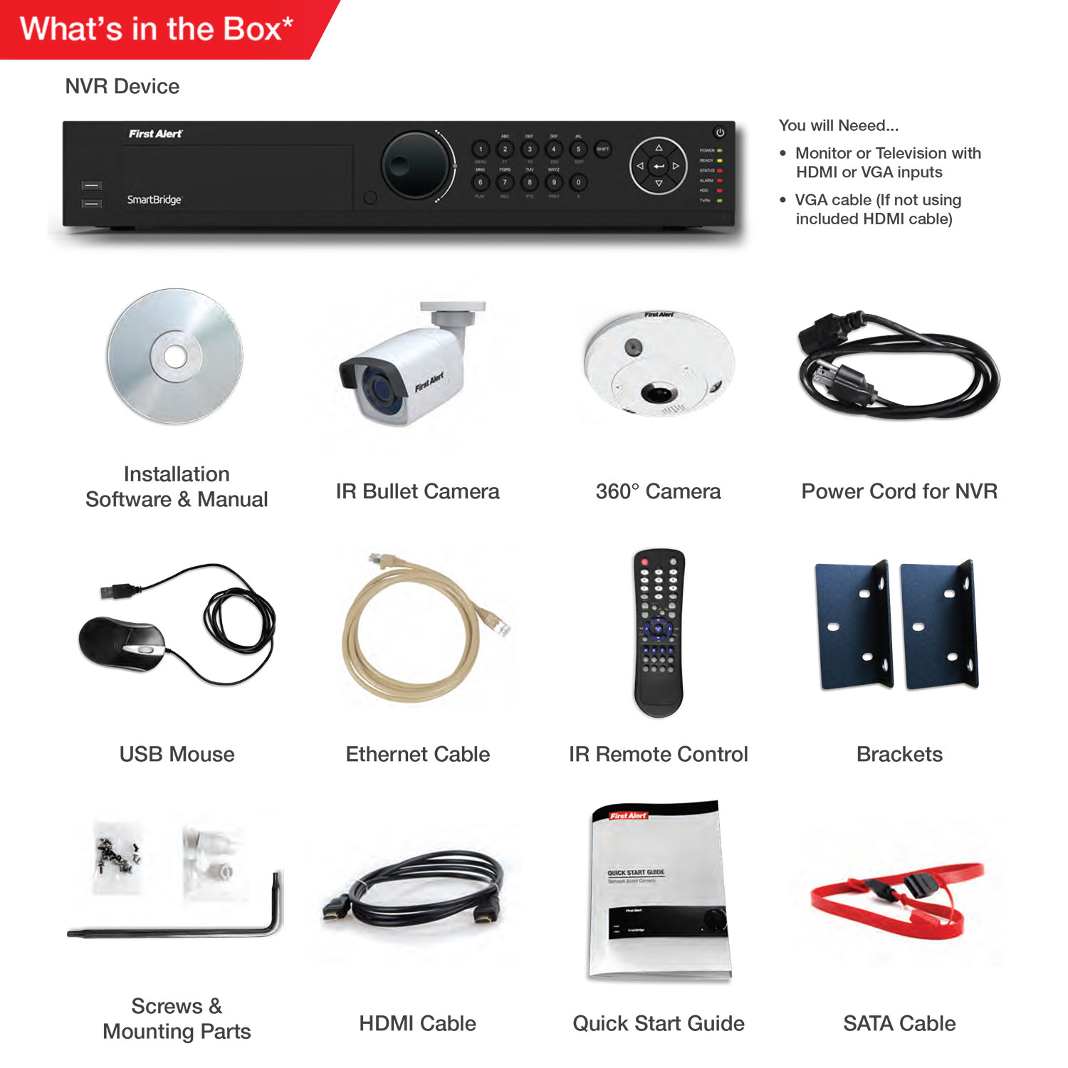 First Alert 16 Channel HD 4TB NVR Surveillance System with 1-3MP 360 Camera and 4-1080p Bullet Cameras, Smartbridge NC1641F4-360