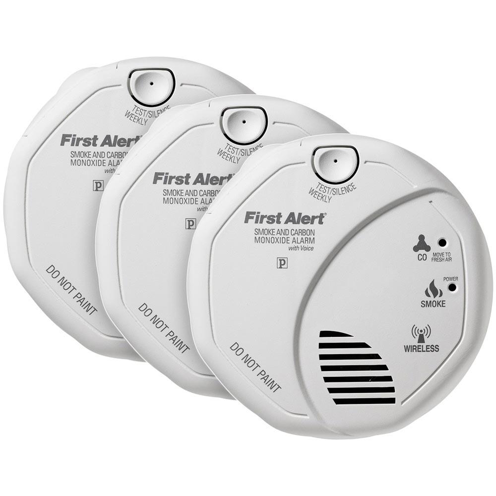 3 Pack Bundle of First Alert Wireless Interconnect Talking Battery Operated  Smoke & Carbon Monoxide Alarm, SCO501CN-3ST