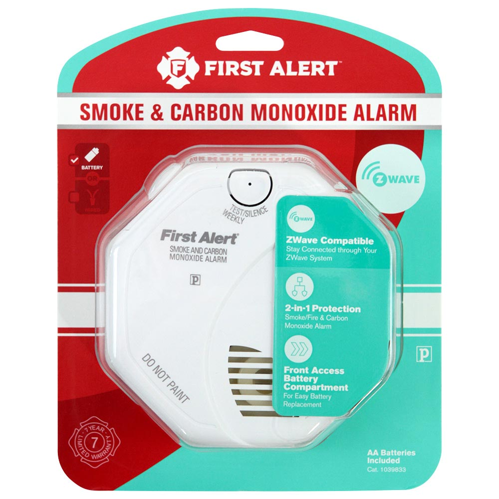First Alert Z-Wave Enabled Battery Smoke & Carbon Monoxide Combo Alarm (Works with the Ring Alarm Security Kit), ZCOMBO-G (1039833)