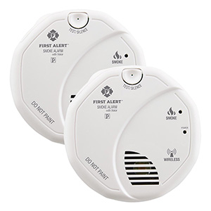 First Alert SA511CN2-3ST Wireless Battery Smoke Alarm With Voice, Twin Pack